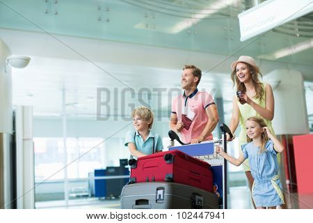 Young family at the airport