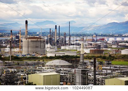 Shot of an oil refinery