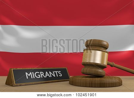 Wooden court gavel and a plaque labeled migrants in front of the flag of Austria. poster