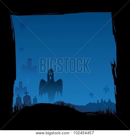 Halloween Grave Yard With Ghosts Background