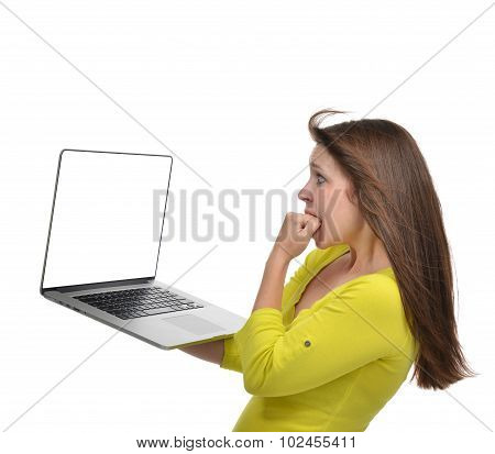 Woman With New Modern Popular Laptop Keyboard With Blank Screen For Text Space Surprised Thinking