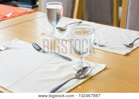 Glass Of Water On Table Setting For Dining