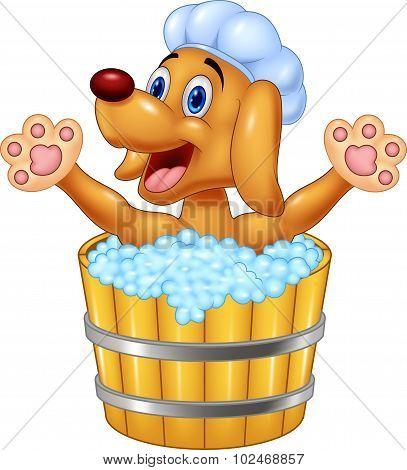 Cartoon Dog bathing waving hand