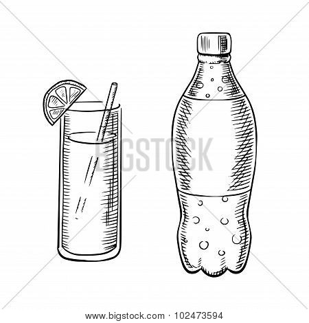 Bottle of soda with cocktail