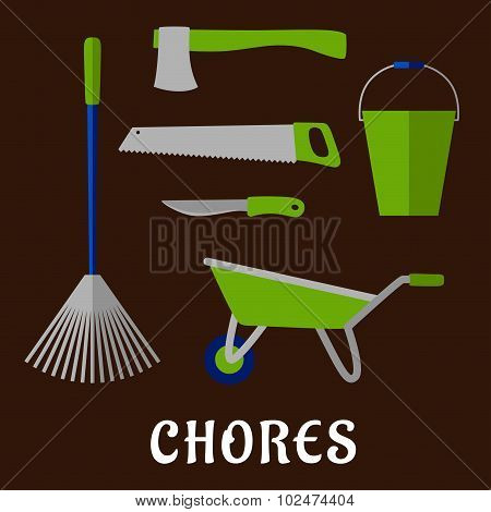 Gardening chores and tools flat icons