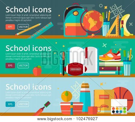 Vector flat design concepts of education. Horizontal banners with school items. Back to school conce