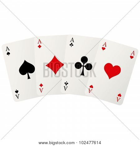 four playing cards with aces isolated on white background poster