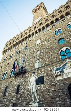 Palazzo Vecchio (old Palace) And Michelangelo's David Statue, Florence