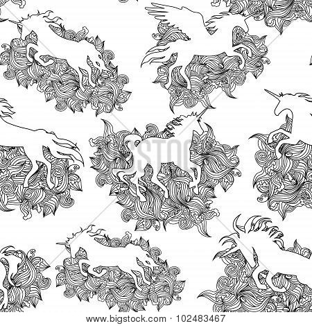 Unicorn seamless pattern.