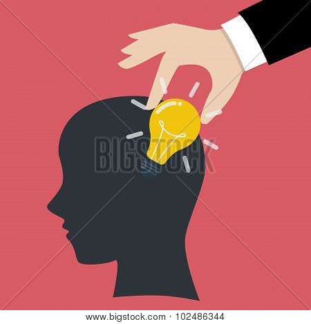 Hand Stealing Idea Light Bulb From Head