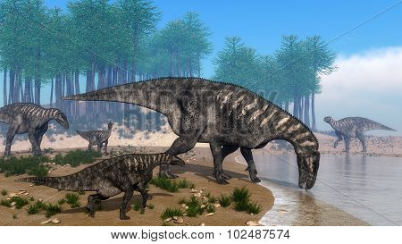 Iguanodon dinosaurs herd at the shoreline - 3D render