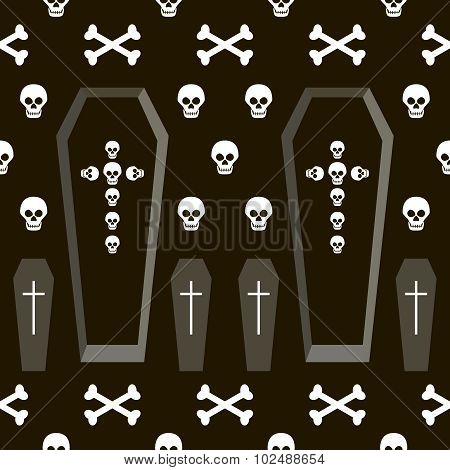 Seamless Halloween Pattern Of Coffins, Crosses, Skulls And Bones