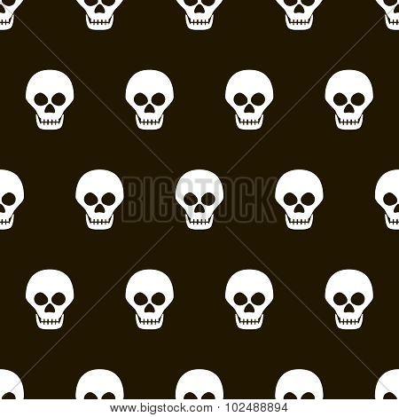 Seamless Halloween Black And White Pattern Of Skulls