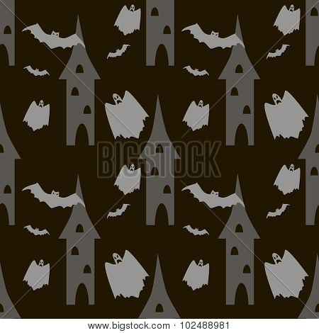 Seamless Halloween Pattern Of Bats And Ghosts Flying Around The Towers