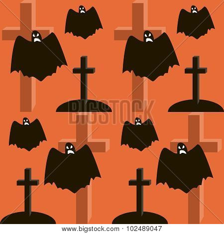 Seamless Halloween Pattern Of Flying Ghosts, Graves And Crosses