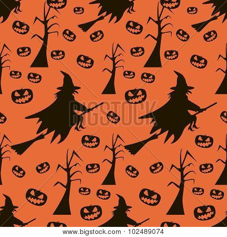 Seamless Halloween Pattern Of Witches On Broomsticks, Evil Pumpkins, Dead Trees