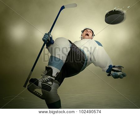 Comic Moment Of The Ice Hockey Game: Player Dodging Puck
