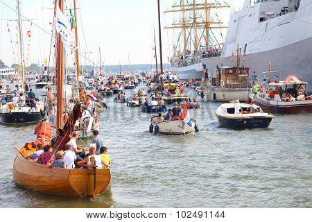 Several tallships In Amsterdam Particiating At