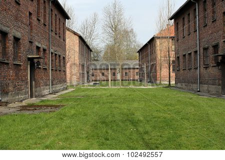 OSWIECIM, POLAND - APRIL 16 2015: Buildings in the former German concentration camp in Oswiecim Poland Oswiecim was the largest German concentration camp in Poland during World War II.
