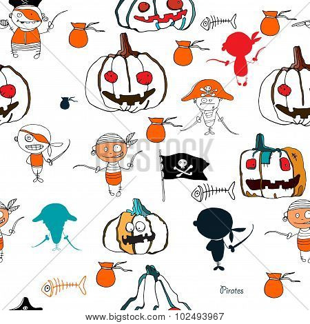 seamless vector little funny pirates and halloween pampkins on white background with silhouettes for