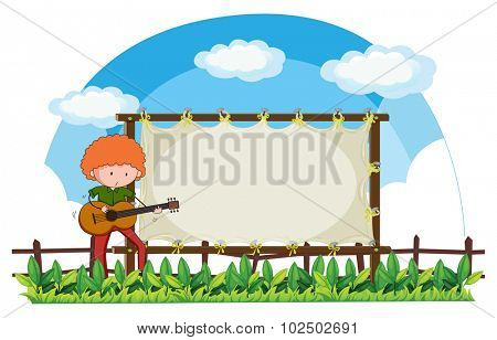 Man playing guitar in the park illustration