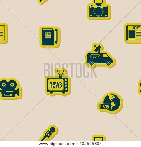 Seamless background with journalism icons for your design poster