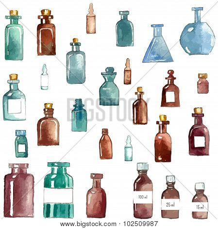 Watercolor medical icons