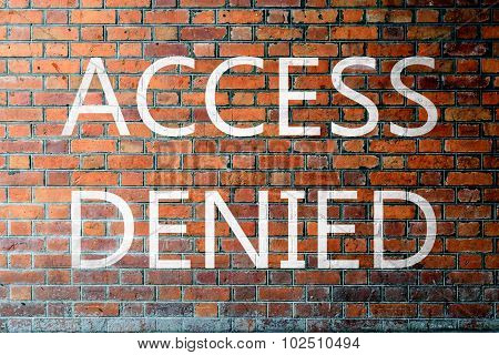 Red Brick wall texture background with a word Access Denied poster