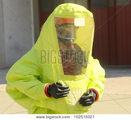 Person With Yellow Protective Suit, Anti-glare To Avoid Counting By Bacteria