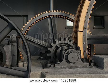 Gigantic Old Wheels Of A Cable Car