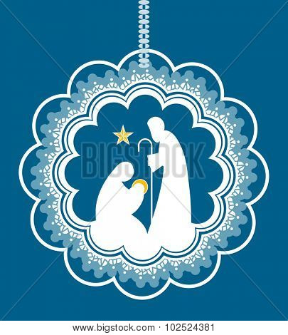 Baby Jesus Mary Joseph in bauble