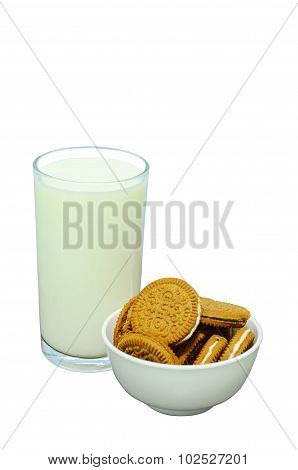 Milk and sweets chocolate for snack on white background