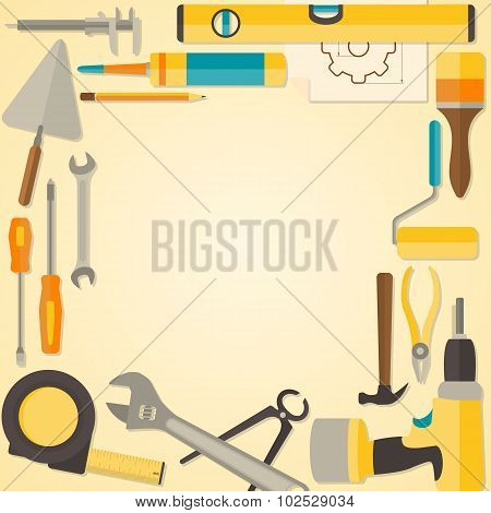 Vector flat design frame with do-it-yourself tools