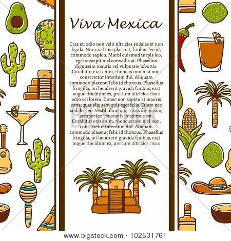 Vector travel mexican concept with hand drawn objects and background on Mexico or Latin America them