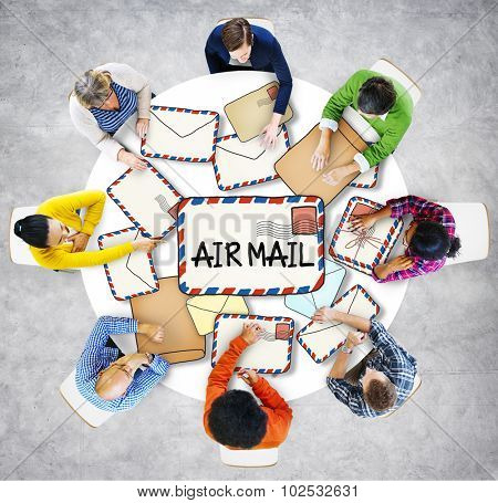 Multiethnic Group of People with Air Mail Concept