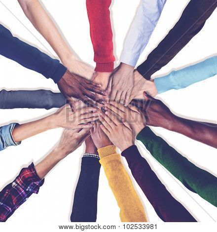 Group of Human Hands Holding Together Concept