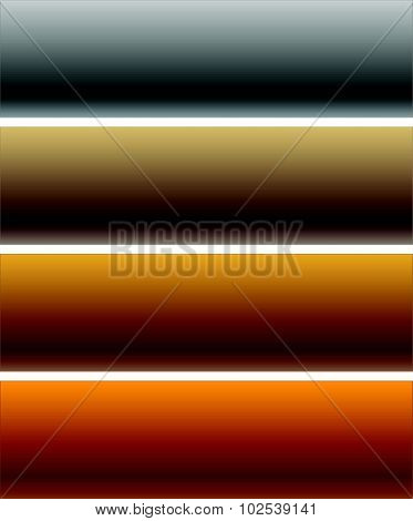 Set Of Metal Plaques, Banners With Blank Space. Editable Vector.