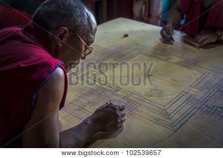 Monk Working On Mandala In Diskit Gompa, Ladakh