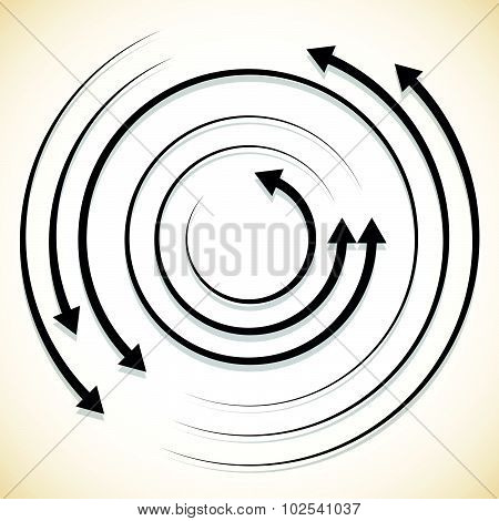 Concentric Circulating, Rotating Arrows, Circle Arrows. Vector.