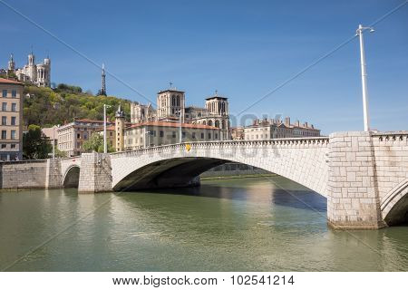 Classical View Of Lyon, France. Basilica Of Notre Dame De Fourviere In The Historical Center