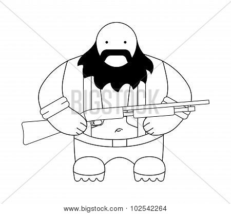 Fat redneck illustration. Contour