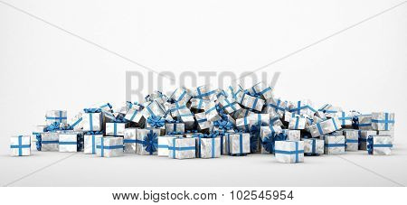Pile of white and blue christmas presents isolated on white background. Concept image for christmas (x-mas) or weddings. 3d Rendering.