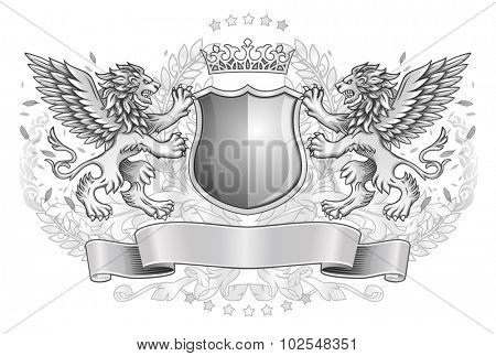 Two Winged Lions Holding Shield with Crown and Banner