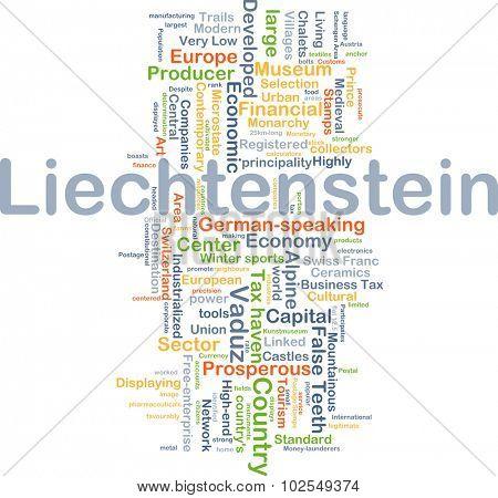 Background concept wordcloud illustration of Liechtenstein