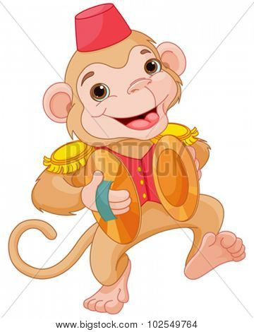 Illustration of cute monkey playing percussion hand cymbals