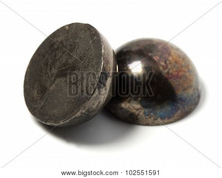 The Bursting Of The Half Ball Bearing. Isolated Background