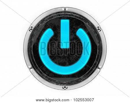 Glass and metal circle power symbol graphic element isolated on a white background.