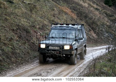MINYAR, RUSSIA - OCTOBER 31: Off-road vehicle Land Rover Discovery takes part at the annual trophy challenge