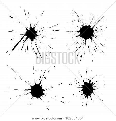 Set Of Black Ink Blots
