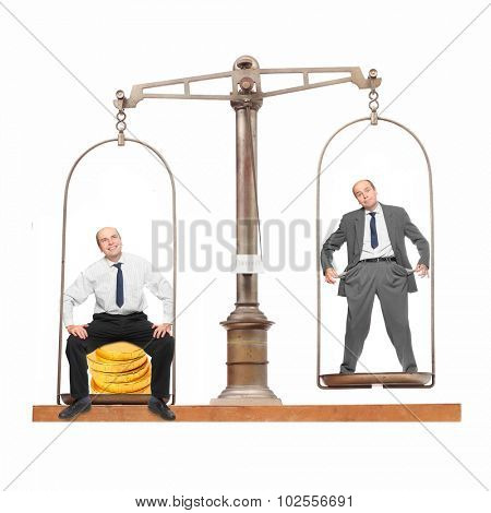 Wealth and poverty, successful businessman and loser on the balance scale.